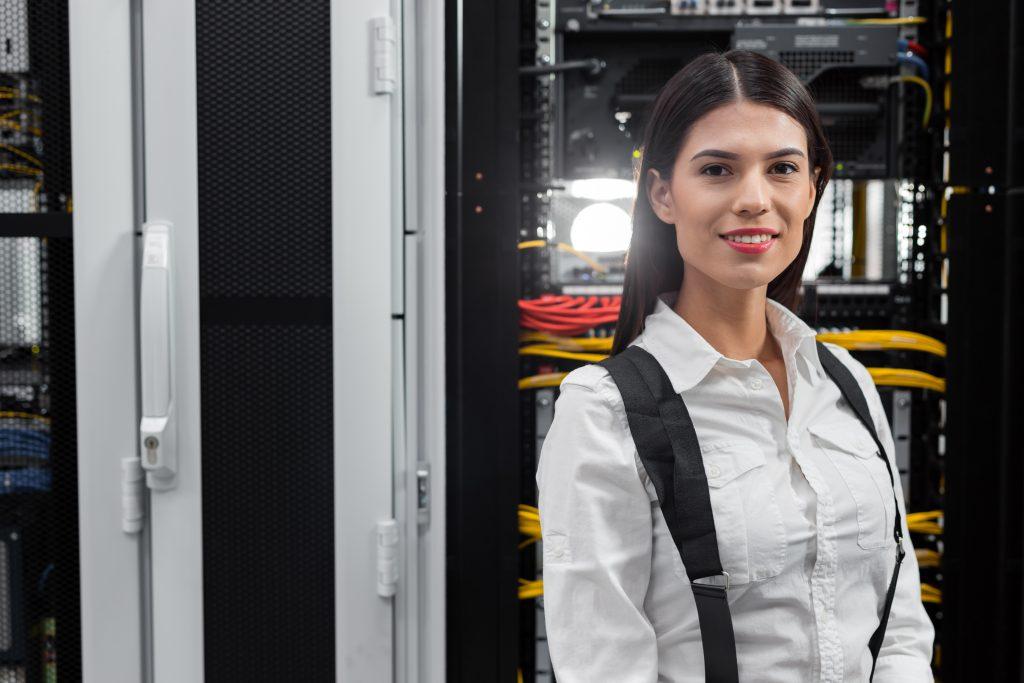 Engineer in network server room